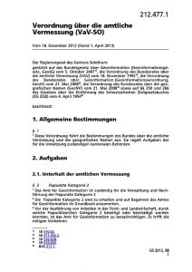 Verordnung über die amtliche Vermessung